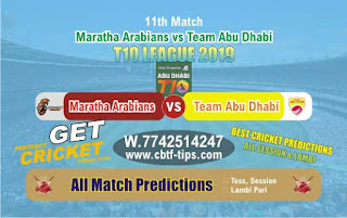 Who will win Today T10 League 2019, 11th Match Abu Dhabi vs Maratha, 100% Sure Prediction