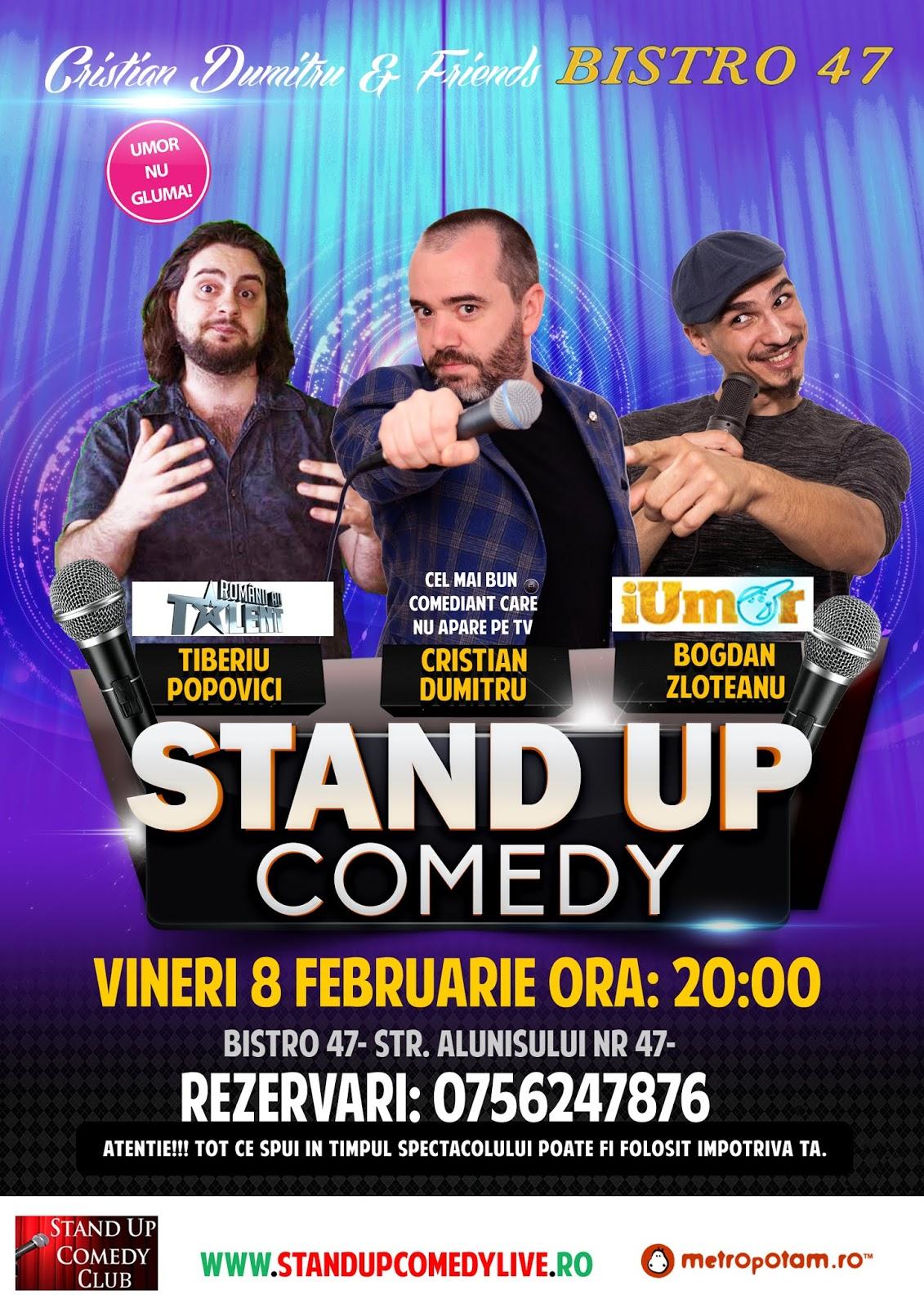Stand-Up Comedy Bucuresti, Vineri 8 Februarie 2019