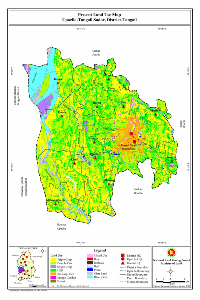 Tangail Sadar Upazila Mouza Map Tangail District Bangladesh