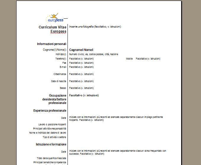 modello cv europeo da compilare online