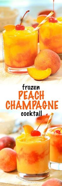 Frozen Peach Champagne Coctail #dessert #coctail #drink