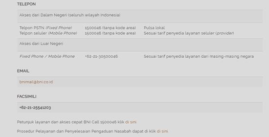 informasi kontak call center bni untuk cek sisa angsuran