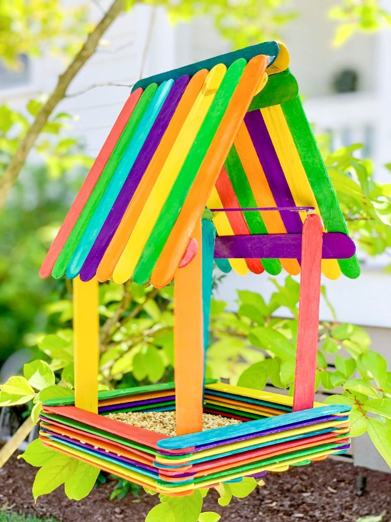 popsicle stick bird feeder craft  - summer camp craft for kids