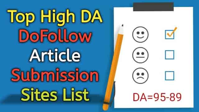 High DA DoFollow Free article submission sites