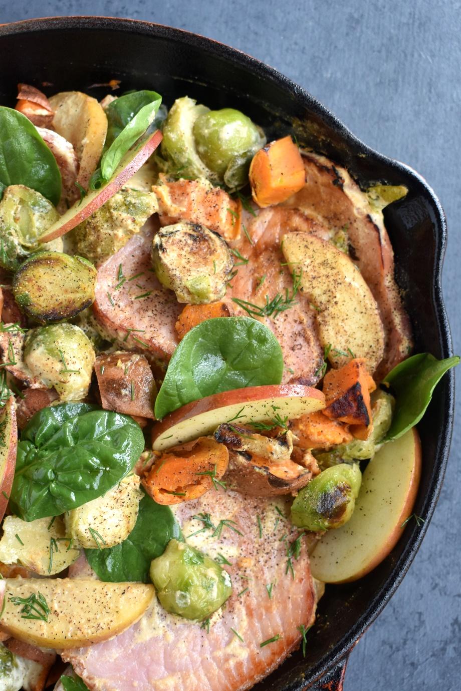 Dijon Pork Chops with Sweet Potatoes, Apples skillet