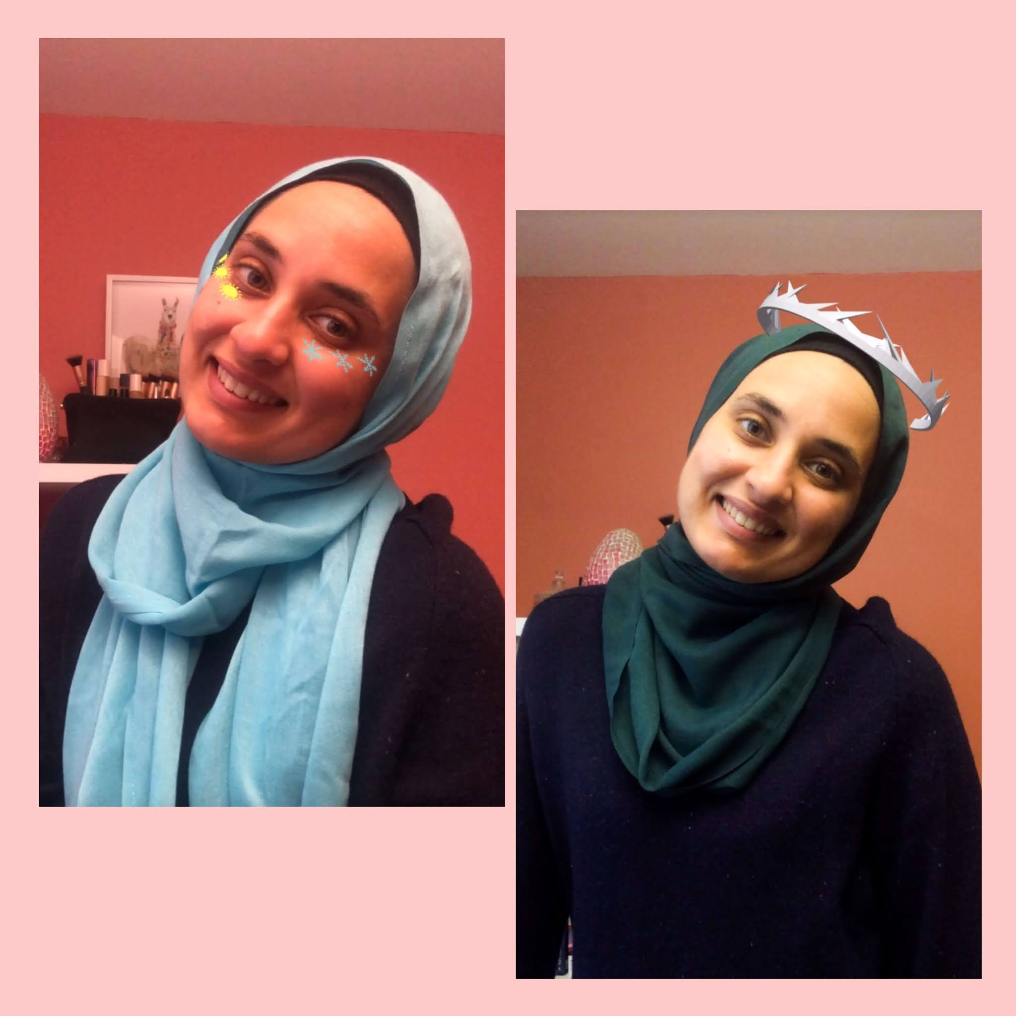 On left: Sahara with blue hijab with instagram filter with suns and snowflakes, on right with a silver crown
