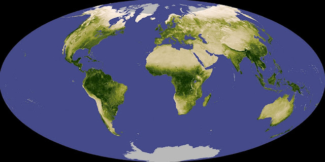 Satellites monitor how 'greenness' changes with Earth's seasons. UCR scientists are studying the accompanying changes in atmospheric composition as a marker for life on distant planets. NASA