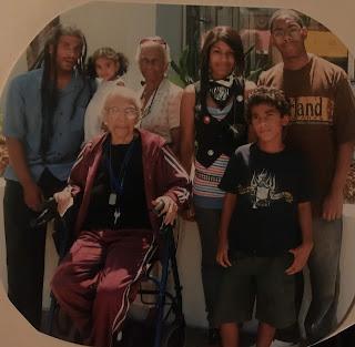 Grandma Davis with her mother, son and grandchildren