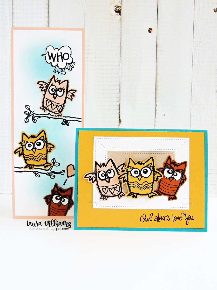 Make cards that are a HOOT with the Who Loves You stamp set from Impression Obsession. Click to see ideas using these clear stamps designed by Nola Chandler. The owls are quirky and fun to color, paper-piece and more. Make a slimline card with them or a regular shaped card. They're also perfect for adding onto scrapbook layouts, tags, and goodie bags.