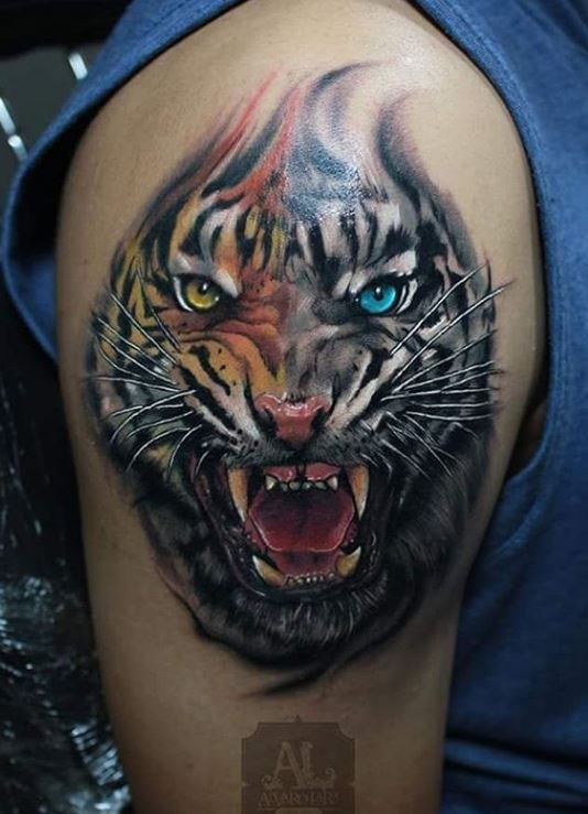 Colorful Tiger Tattoo on Shoulder