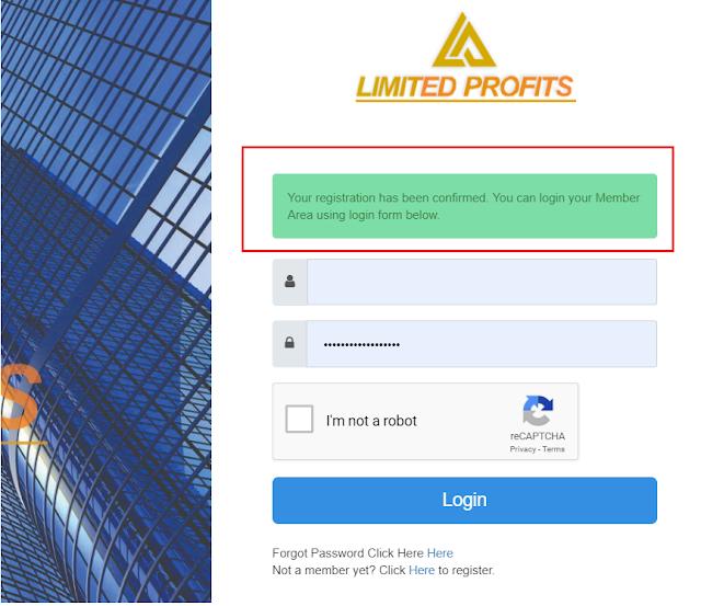 Konfirmasi Pendaftaran di Limited Profit melalui email sukses