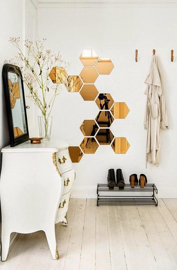 Espejos hexagonales para decorar estilo nordico escandinavo
