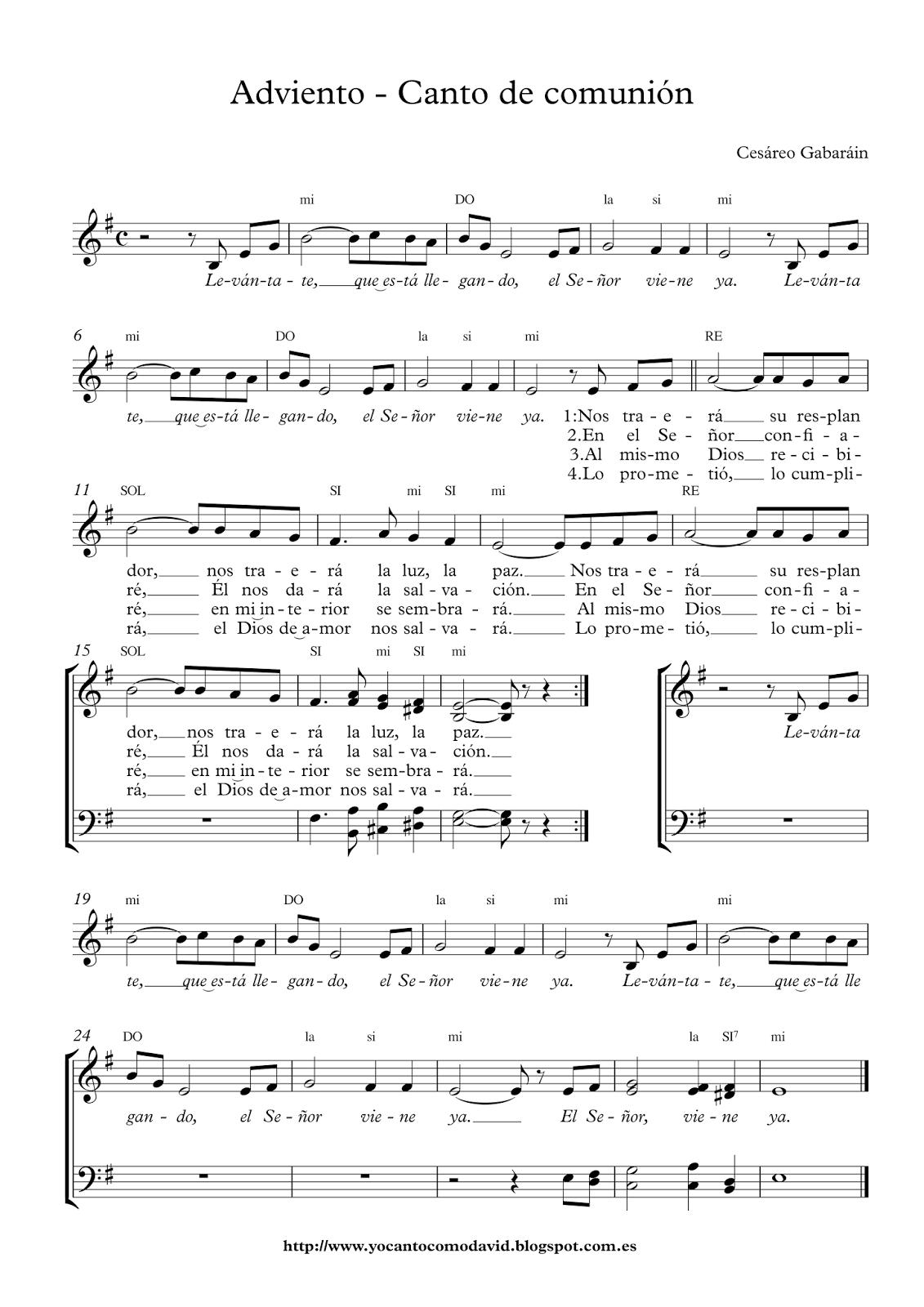 Adviento canto de comuni n yo canto como david for El jardin acordes
