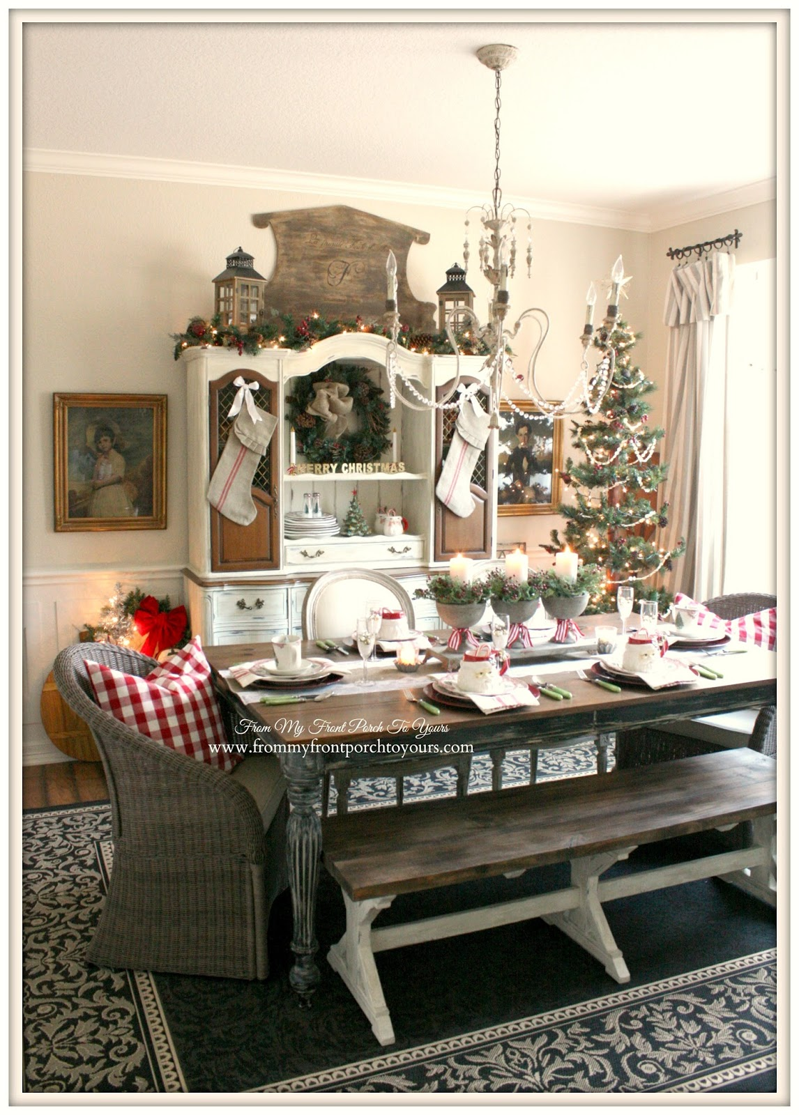 French Farmhouse Vintage Christmas Dining Room- From My Front Porch To Yours