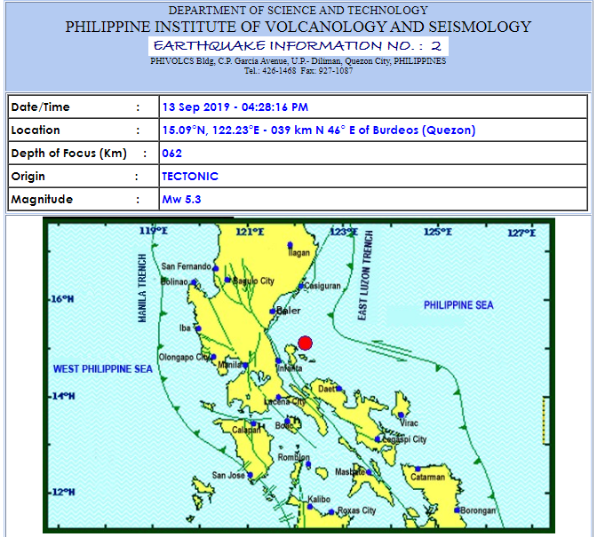 Magnitude 5.3 earthquake shakes Metro Manila, Luzon on September 13, 2019
