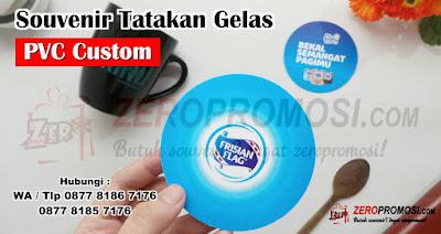 Souvenir Tatakan Gelas Bulat Bahan Pvc Custom Desain, Coaster / Tatakan gelas bahan PVC, Tatakan piring gelas di meja makan PVC