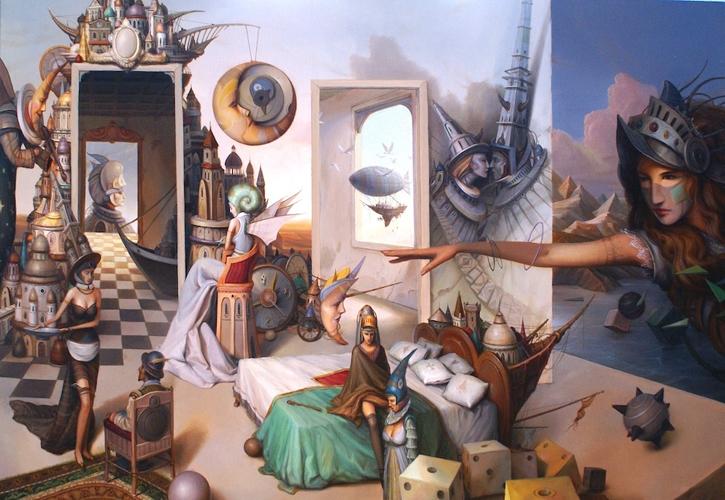 07-Odpoczynek-spełnionych-marzeń-Tomek-Sętowski-Surreal-Oil-Paintings-that-Tell-a-Story-www-designstack-co