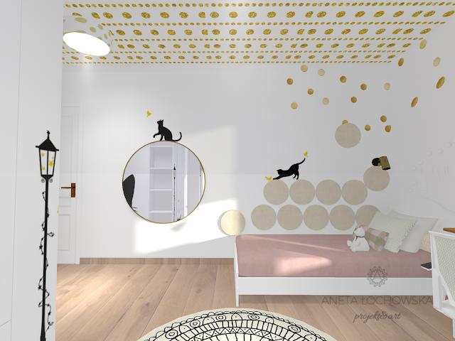 Biało - złoty pokój dziewczynki