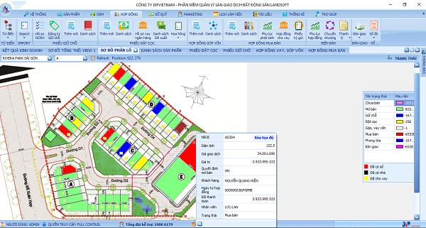 Giao diện phần mềm quản lý bất động sản Landosft