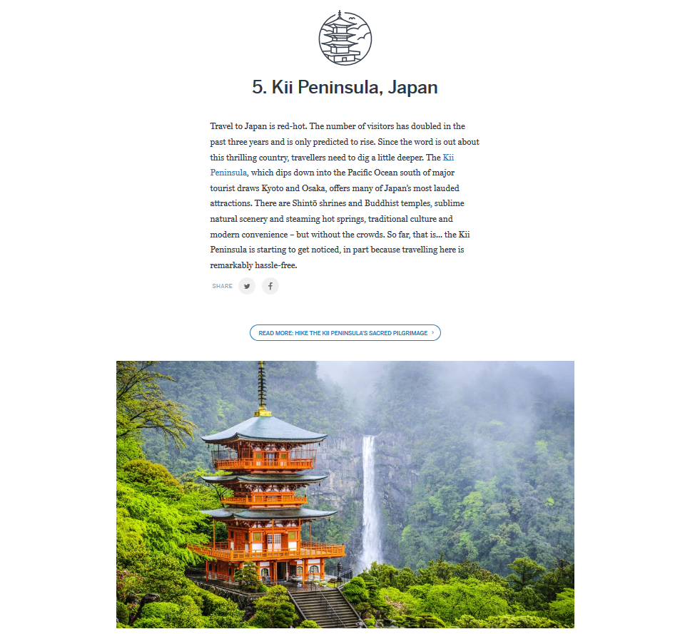 the kii peninsula highlighting the kumano kodo and koyasan is one of the top regions selected by lonely planet s best in travel 2018