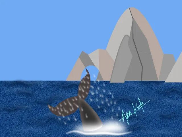 Dibujo de la cola de una ballena