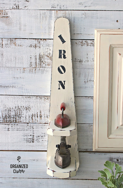 Repurposed Sleeve Ironing Board Shelf #stencil #repurpose #Laundryroomdecor