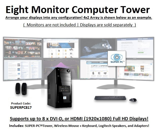 SUPER PC | Eight Monitor Mid-Tower Computer System | 5th Gen Intel Core i7 Eight Core CPU | SUPERPC817