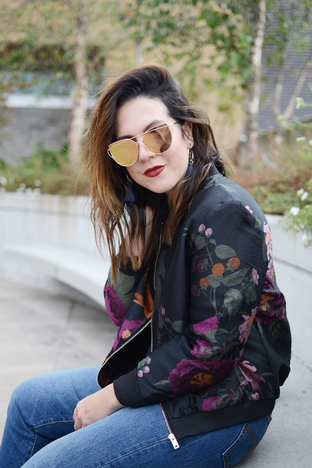 Le Chateau embroidered bomber jacket levis wedgie jeans vancouver fashion blogger aleesha harris
