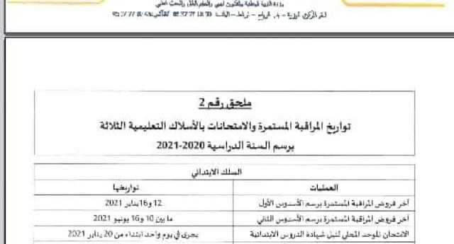 ملاحق تنظيم السنة الدراسية 2020/2021لائحة العطل-تواريخ وتنظيم الامتحانات والمراقبة المستمرة