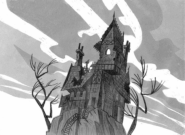 a Mr. Magoo haunted house background for a UPA animation