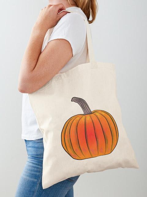 A bag with a pumpkin illustration / Kassi jossa on kurpitsakuvitus