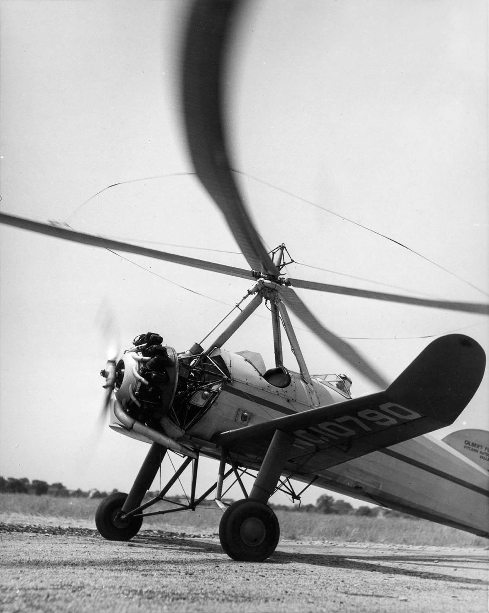 An autogyro pilot prepares for takeoff in New York. 1930.