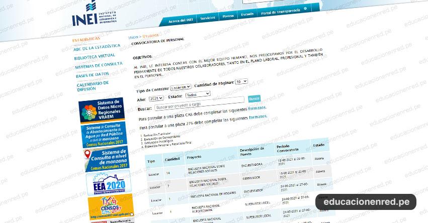 INEI Convocatoria JUNIO 2021 - Diversos Puestos para ENCUESTADOR Y SUPERVISOR - Encuesta Nacional - www.inei.gob.pe