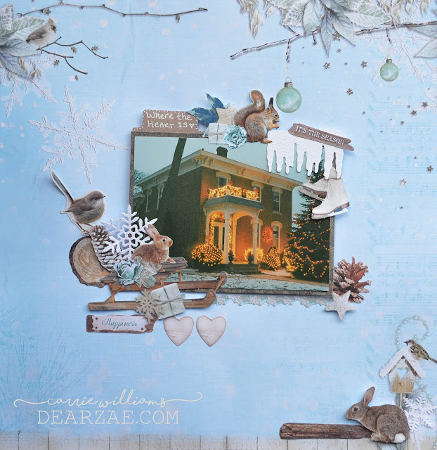 Blue christmas layout with rustic brown die cut elements