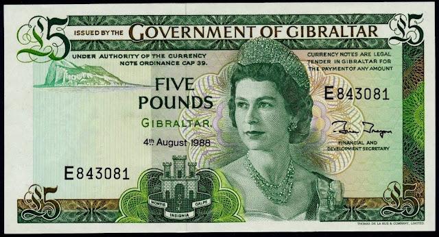 Gibraltar Banknotes 5 Pounds banknote 1988 Queen Elizabeth II