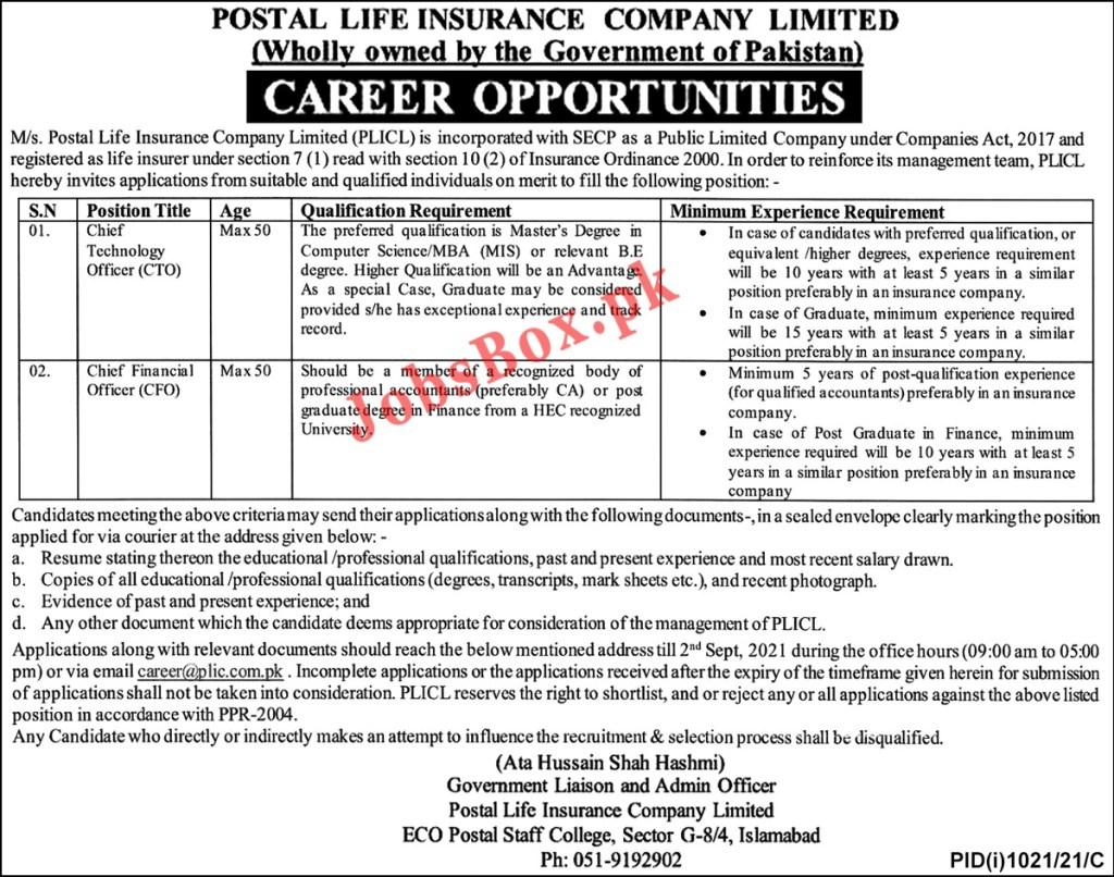 Postal Life Insurance Company Limited PLICL Jobs 2021 Latest
