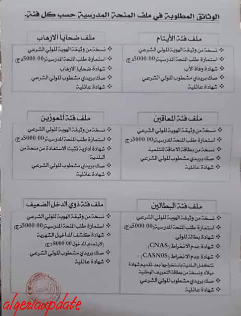 الوثائق المطلوبة في ملف المنحة المدرسية (5000دج) حسب كل فئة