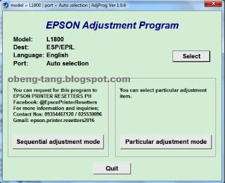 Download Resetter Epson L1800 Service Required