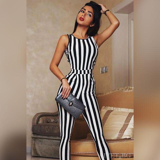 Αμάνικη  μαύρη -  άσπρη ολόσωμη φόρμα PEPINA