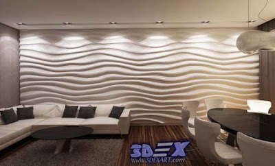 3d gypsum wall panels, 3d plaster wall paneling design, waves wall panels for living room