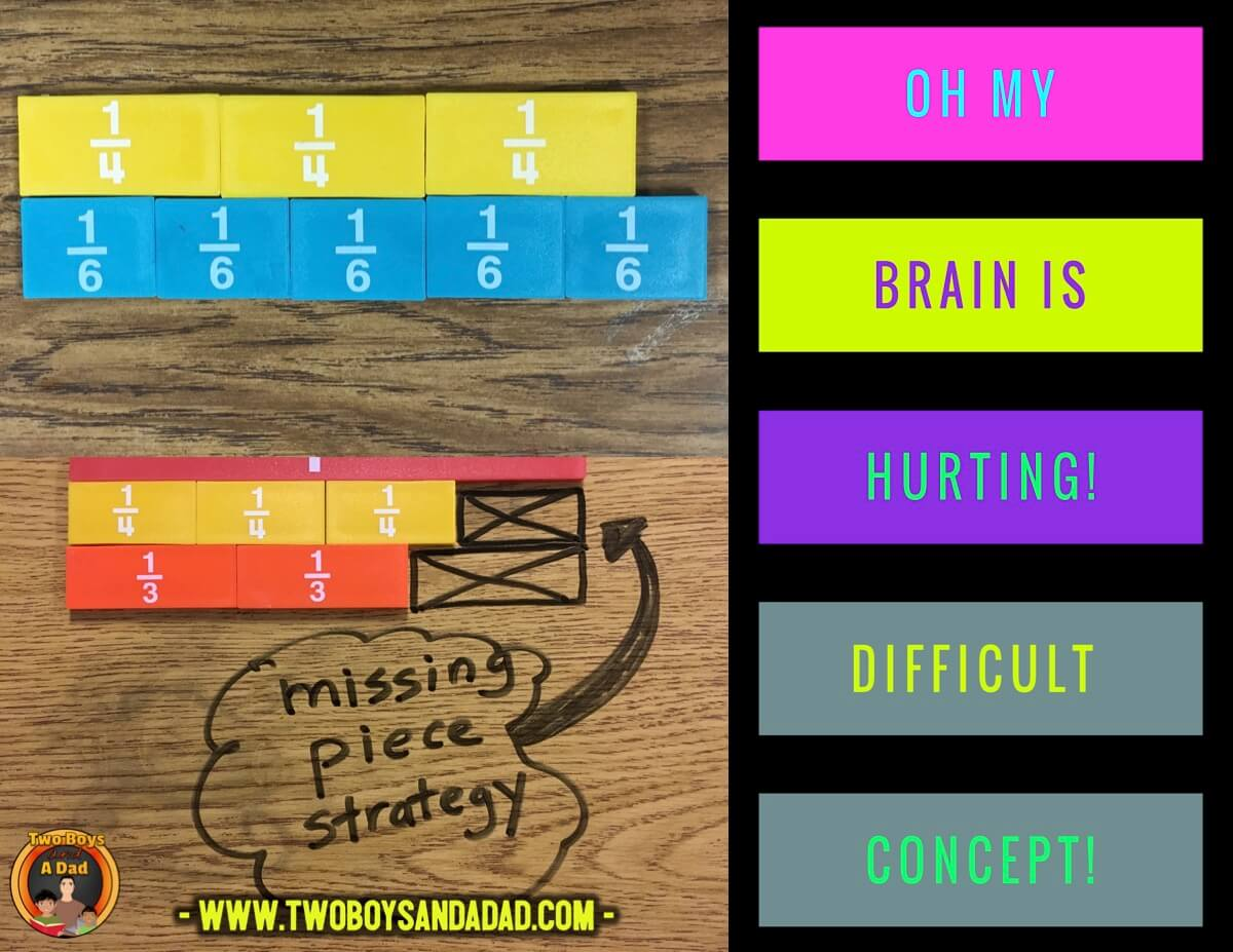 comparing fractions missing piece strategy