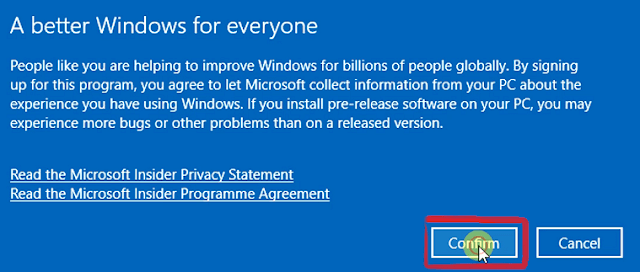 Confirm windows insider programme
