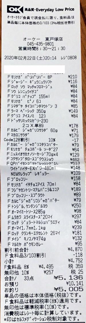 OK オーケー 東戸塚店 2020/2/22 のレシート