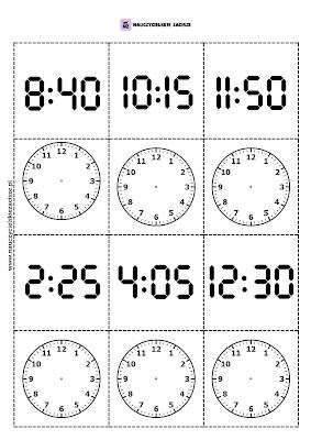 Memory pamięć zegar godziny gra do druku