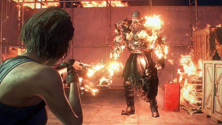 resident evil 3 remake screenshot image jill valentine nemesis environmental destruction
