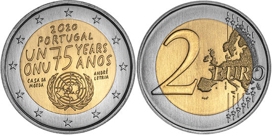 Portugal bimetallic 2 euro 2020 - 75th Anniversary of the United Nations