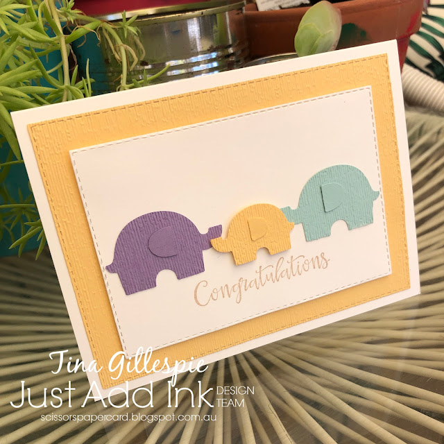 scissorspapercard, Stampin' Up!, Just Add Ink, Peaceful Moments, Subtle 3DEF, Stitched Rectangles Dies, Elephant Builder Punch, Baby Card