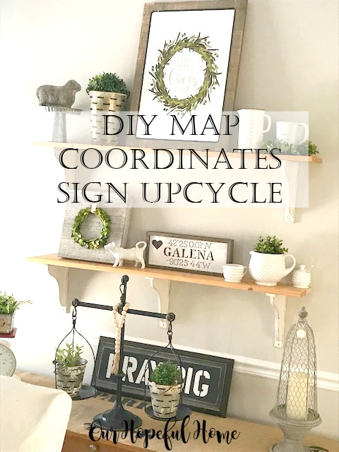 farmhouse shelves map coordinates sign boxwood wreath
