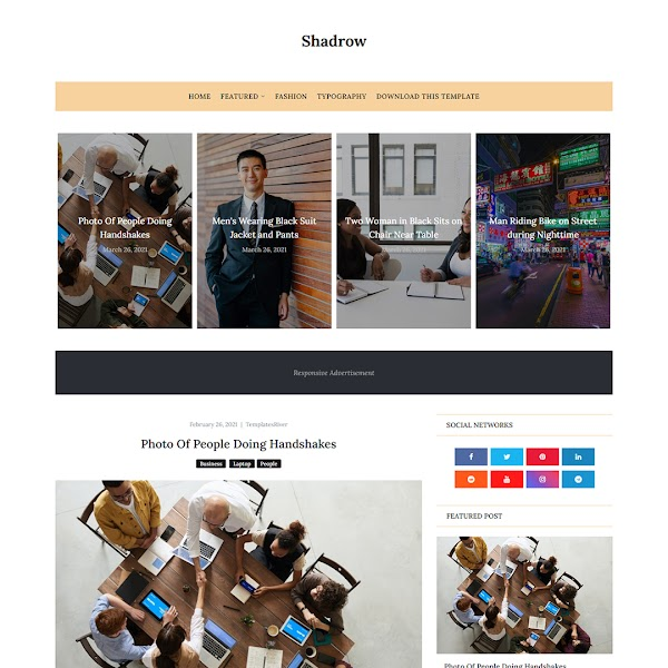 Shadrow - Fashion & Personal Responsive Blogger Template