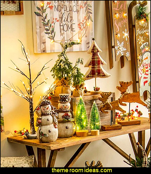Snow Dusted Faux Trees in Burlap rustic christmas decor christmas rustic decorating ideas